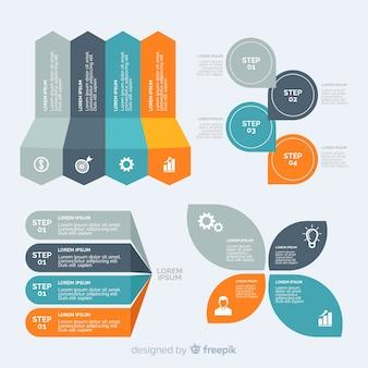 Collezione di elementi infographic design piatto Vettore Premium