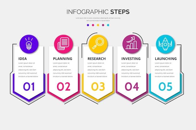 Modello di passaggi infographic design piatto Vettore Premium
