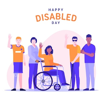 Giornata internazionale delle persone con disabilità design piatto Vettore Premium