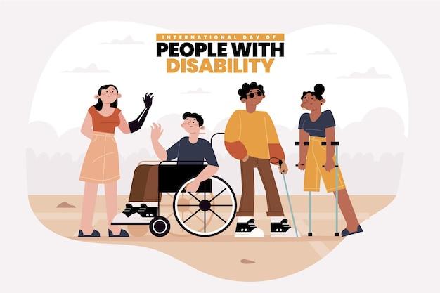 Giornata internazionale delle persone con disabilità design piatto