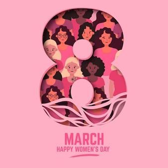 Giornata internazionale della donna di design piatto illustrato