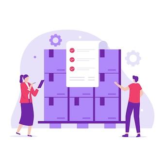 Design piatto del concetto di controllo dell'inventario. illustrazione per siti web, landing page, applicazioni mobili, poster e banner