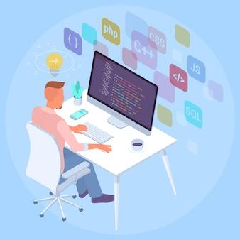 Illustrazione isomentrica design piatto del programmatore al concetto di lavoro per infografica applicazione di presentazione e banner web