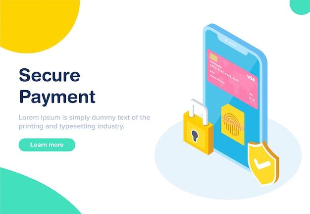 Flat design isometrico pagamento sicuro Vettore Premium