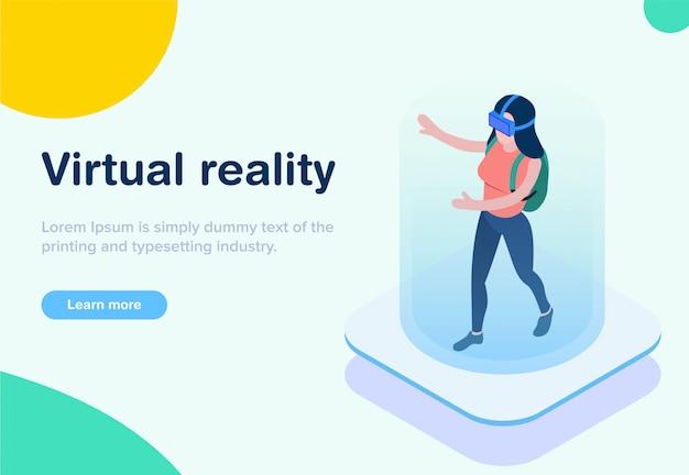 Realtà virtuale isometrica di design piatto Vettore Premium