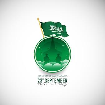 Modello di banner per la festa nazionale del regno dell'arabia saudita di design piatto