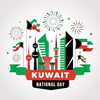 Fuochi d'artificio del giorno nazionale del kuwait di design piatto