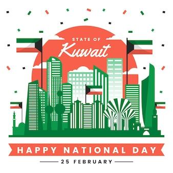 Giornata nazionale kuwait design piatto