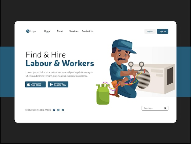 Design piatto del modello di lavoro e lavoratori di noleggio della pagina di destinazione