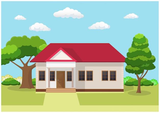 Design piatto del concetto di casa paesaggio