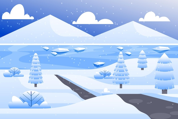 Paesaggio di design piatto in carta da parati invernale