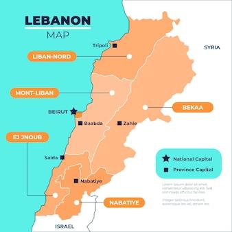 Mappa di libano design piatto