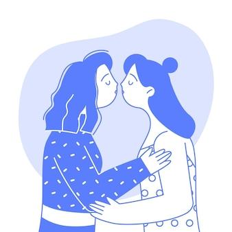 Bacio lesbico di design piatto illustrato