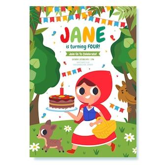 Invito di compleanno cappuccetto rosso design piatto