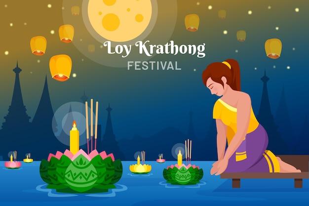 Concetto di design piatto loy krathong