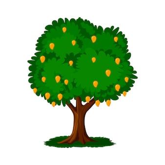 Albero di mango design piatto con frutti