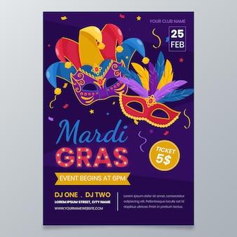 Modello di poster mardi gras design piatto