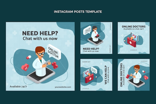 Set di post di instagram medico design piatto
