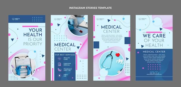 Set di storie mediche per instagram dal design piatto