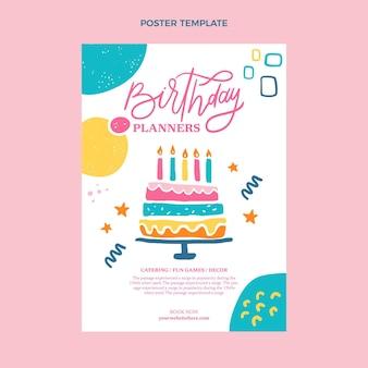 Poster di compleanno minimal design piatto con torta