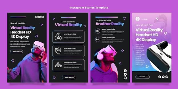 Storie di instagram con tecnologia minimale dal design piatto
