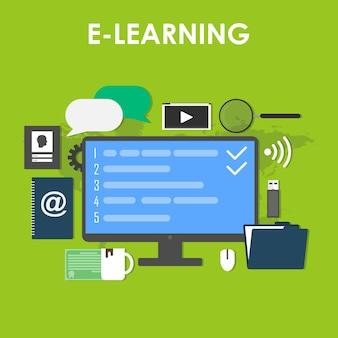 Set di icone moderne di illustrazione vettoriale di design piatto di formazione a distanza ed e-learning