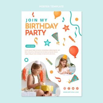 Modello di poster di compleanno mosaico design piatto