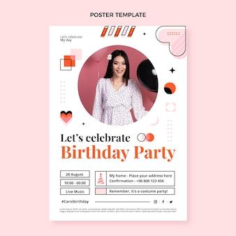 Poster di compleanno mosaico design piatto
