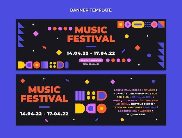 Bandiere orizzontali del festival di musica del mosaico di design piatto