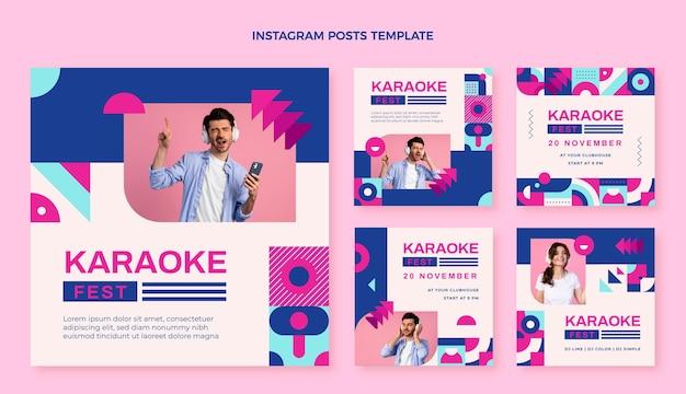 Post di instagram del festival musicale del mosaico di design piatto