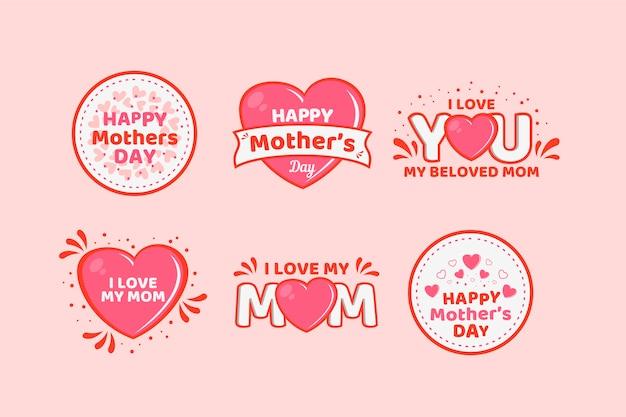 Collezione di badge design piatto festa della mamma