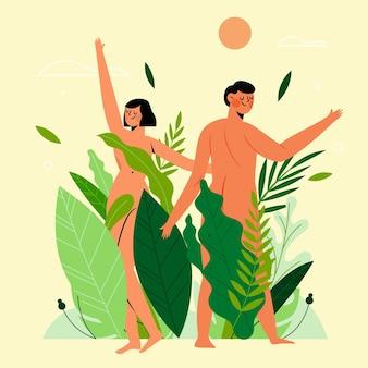 Illustrazione di concetto di naturismo design piatto