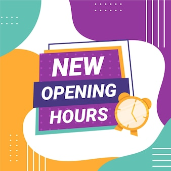 Segno di nuovo orario di apertura design piatto