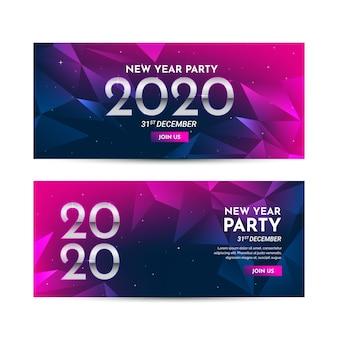 Collezione di banner di design piatto capodanno 2020 Vettore Premium