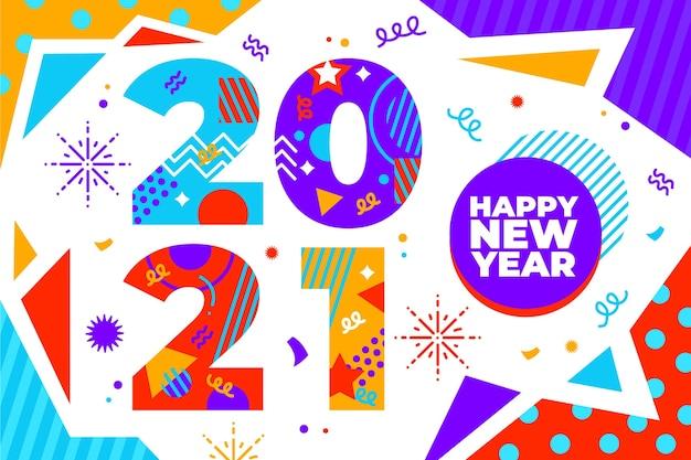 Sfondo di design piatto nuovo anno 2021