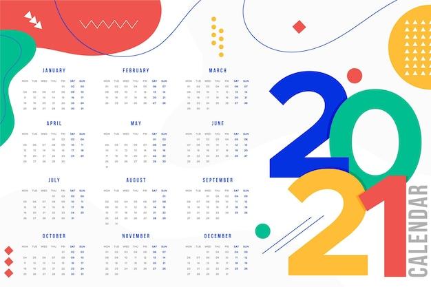Calendario del nuovo anno 2021 design piatto