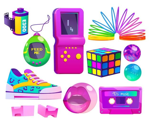 Collezione di elementi nostalgici anni '90 dal design piatto