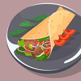 Illustrazione nutriente di shawarma di design piatto