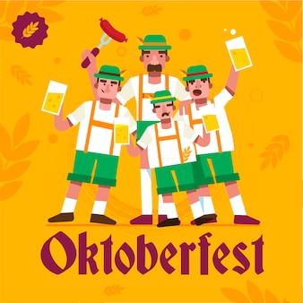 Sfondo oktoberfest design piatto con gli uomini