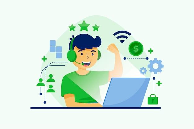 Concetto di giochi online design piatto con il giocatore