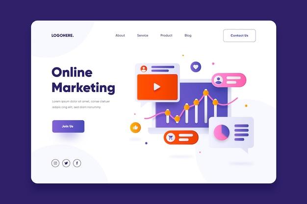 Pagina di destinazione del marketing online design piatto