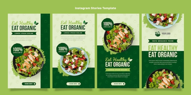 Set di storie instagram per alimenti biologici design piatto