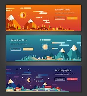 Set di banner design piatto attività all'aperto e paesaggi turistici