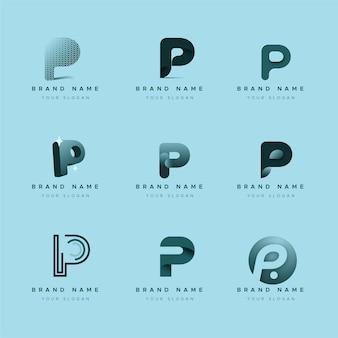 Collezione di loghi p design piatto