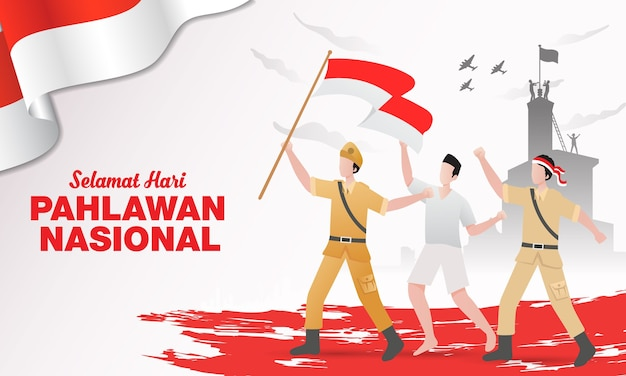 Design piatto pahlawan heroes day illustrazione