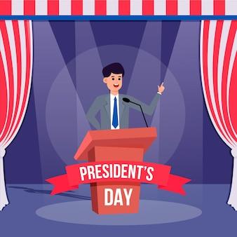 Illustrazione del giorno del presidente design piatto Vettore Premium