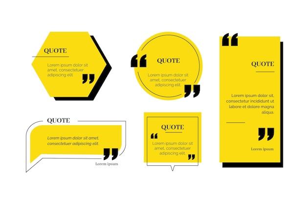 Collezione di cornici per scatola di citazione design piatto