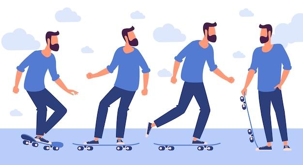 Design piatto pronto per personaggi di animazione pronti per personaggi di animazione dell'uomo con lo skateboard