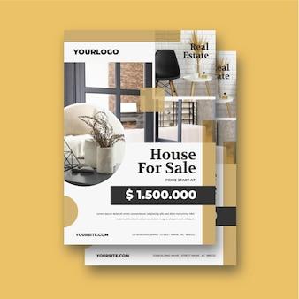 Poster immobiliare design piatto con foto pronta per la stampa
