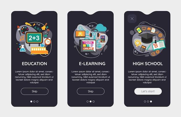 Modello di schermate di avvio dell'app mobile dell'interfaccia utente di e-learning e istruzione reattiva dal design piatto con illustrazioni alla moda